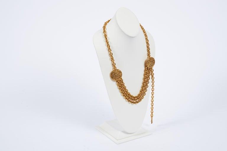Women's 1980s Chanel Gold Triple Chain Belt Necklace For Sale