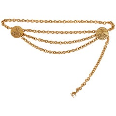 1980s Chanel Gold Triple Chain Belt Necklace
