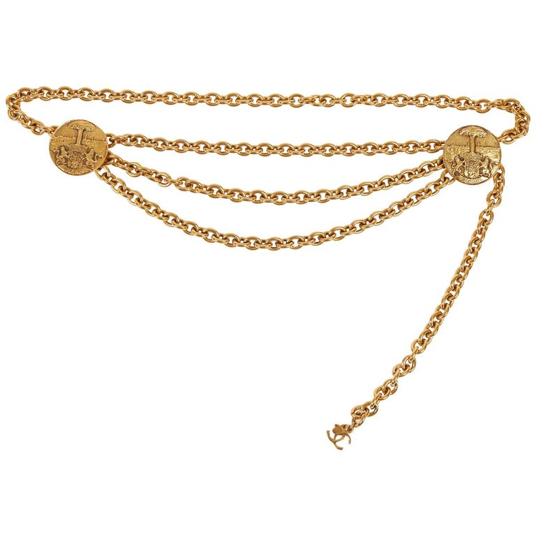 1980s Chanel Gold Triple Chain Belt Necklace For Sale