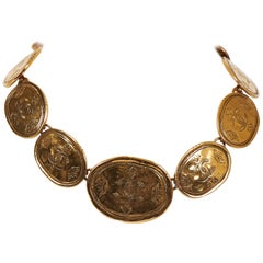 1980's Chanel Graduated Gold Coin Choker Necklace
