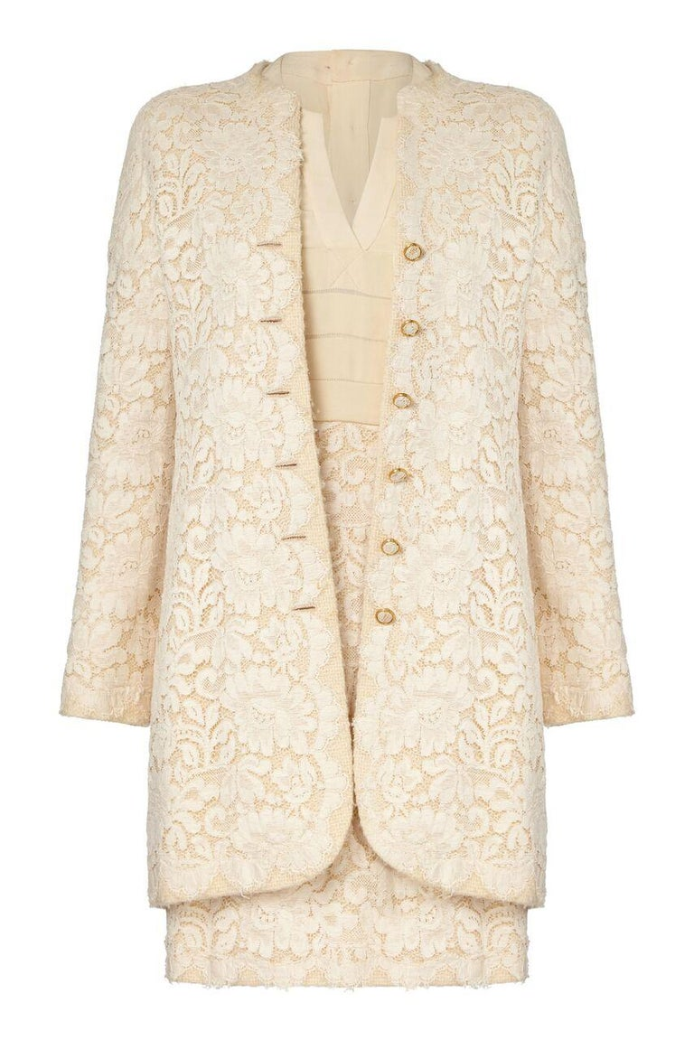 White 1980s Chanel Haute Couture Bridal Cream lace Dress Suit