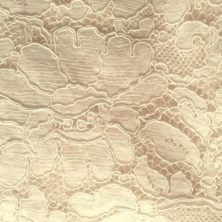 1980s Chanel Haute Couture Bridal Cream lace Dress Suit 1