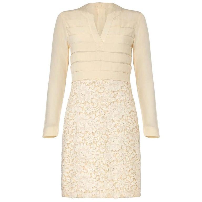 1980s Chanel Haute Couture Bridal Cream lace Dress Suit