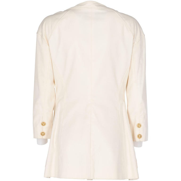 White 1980s Chanel Ivory Cotton Double Breasted Jacket For Sale