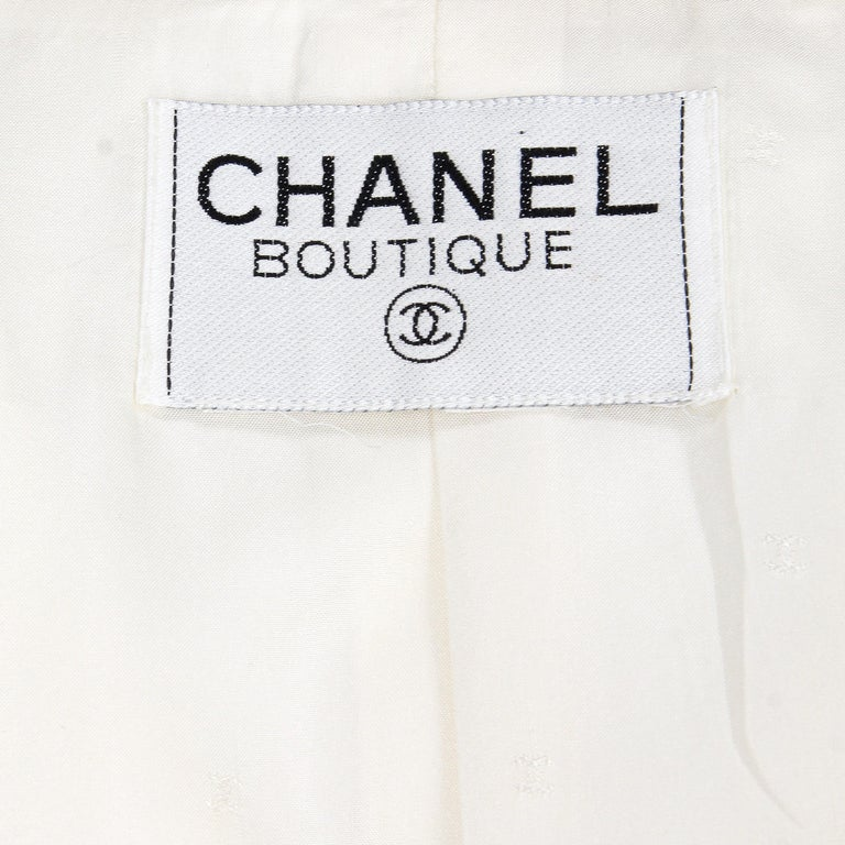 1980s Chanel Ivory Cotton Double Breasted Jacket For Sale 1