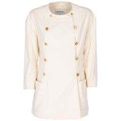 1980s Chanel Ivory Cotton Double Breasted Jacket