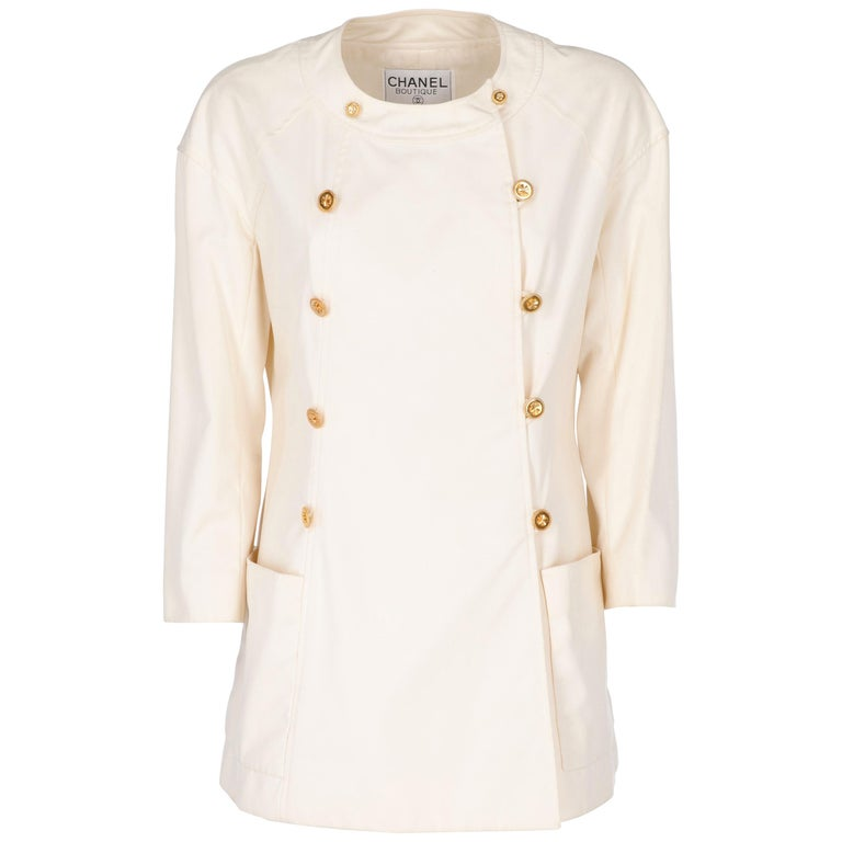 1980s Chanel Ivory Cotton Double Breasted Jacket For Sale