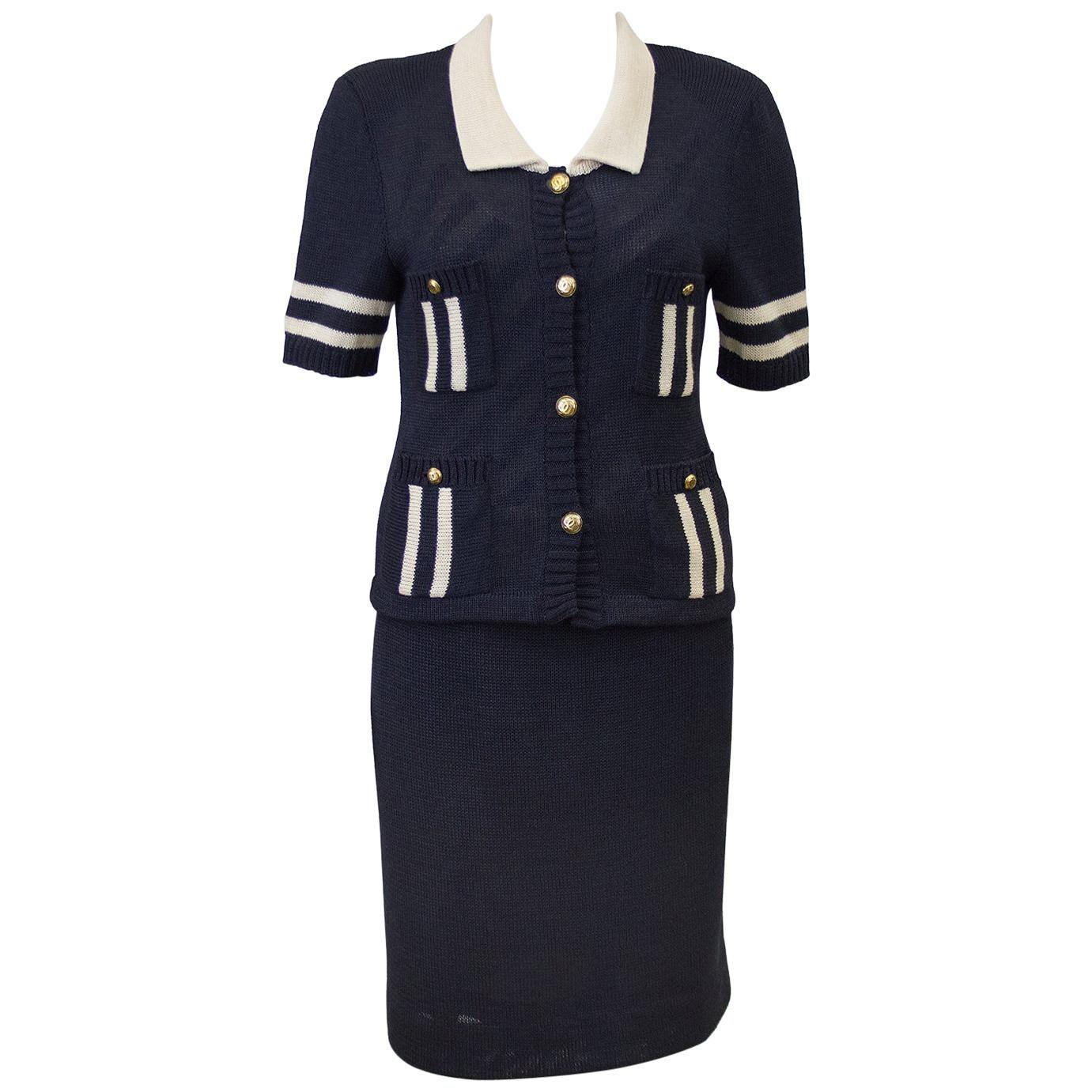 1980s Chanel Knit Navy Short Sleeve Ensemble