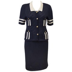 1980s Chanel Knit Navy Short Sleeve Ensemble