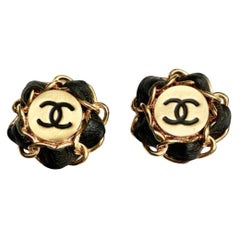 1980s Chanel Leather and Gold Plate Large Clip On Earrings