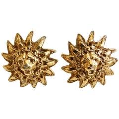 1980s Chanel Lion Sunburst Clip On Earrings