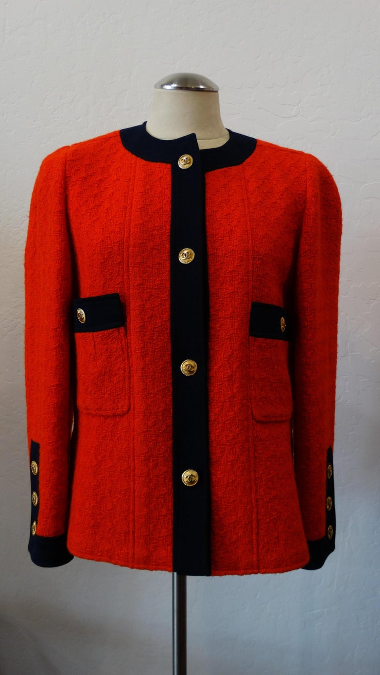 1980s Chanel Lipstick Red Tweed Jacket For Sale At 1stdibs