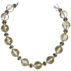 1980's Chanel Lucite & Crystal Choker Necklace
