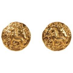 1980's Chanel Mini Lion Earrings