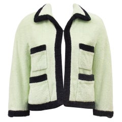 1980s Chanel Mint Terry Cloth Cropped Jacket
