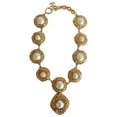 1980s Chanel Pearl Statement Pendant Necklace