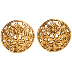 1980's Chanel Perforated Logo Clip Earrings