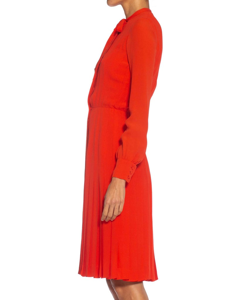 Red 1980S CHANEL Persimmon Haute Couture Silk Crepe Bow Neck Dress With Sleeves For Sale