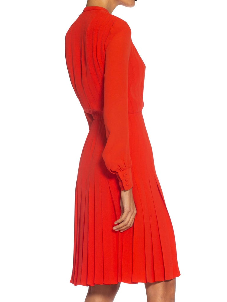 1980S CHANEL Persimmon Haute Couture Silk Crepe Bow Neck Dress With Sleeves In Excellent Condition For Sale In New York, NY