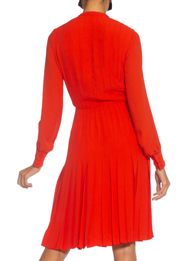 Women's 1980S CHANEL Persimmon Haute Couture Silk Crepe Bow Neck Dress With Sleeves For Sale