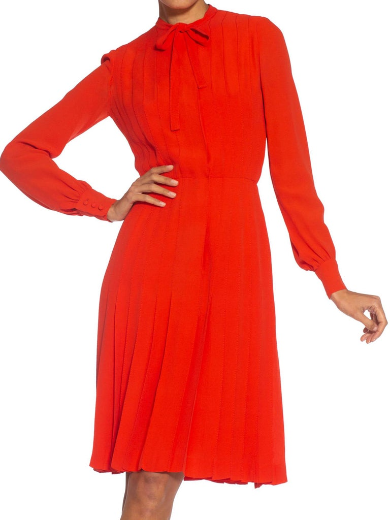 1980S CHANEL Persimmon Haute Couture Silk Crepe Bow Neck Dress With Sleeves For Sale 1