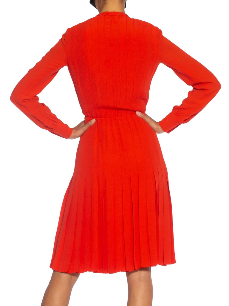 1980S CHANEL Persimmon Haute Couture Silk Crepe Bow Neck Dress With Sleeves For Sale 2