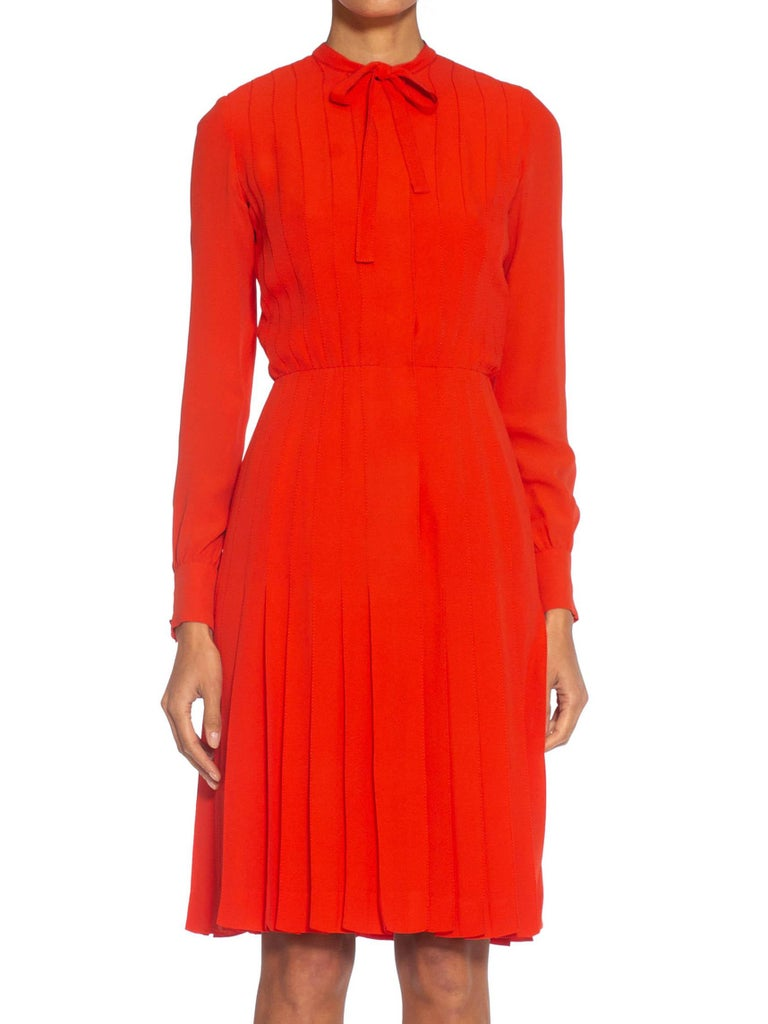 1980S CHANEL Persimmon Haute Couture Silk Crepe Bow Neck Dress With Sleeves For Sale 4