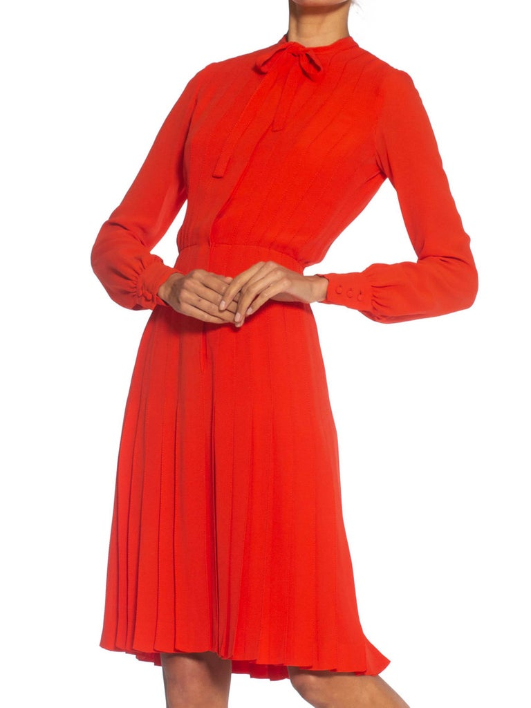 1980S CHANEL Persimmon Haute Couture Silk Crepe Bow Neck Dress With Sleeves For Sale 5