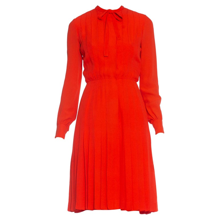 1980S CHANEL Persimmon Haute Couture Silk Crepe Bow Neck Dress With Sleeves For Sale