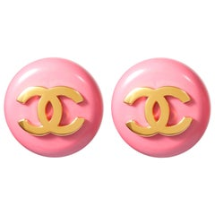 1980s Chanel Pink Lucite Gold Logo Earrings