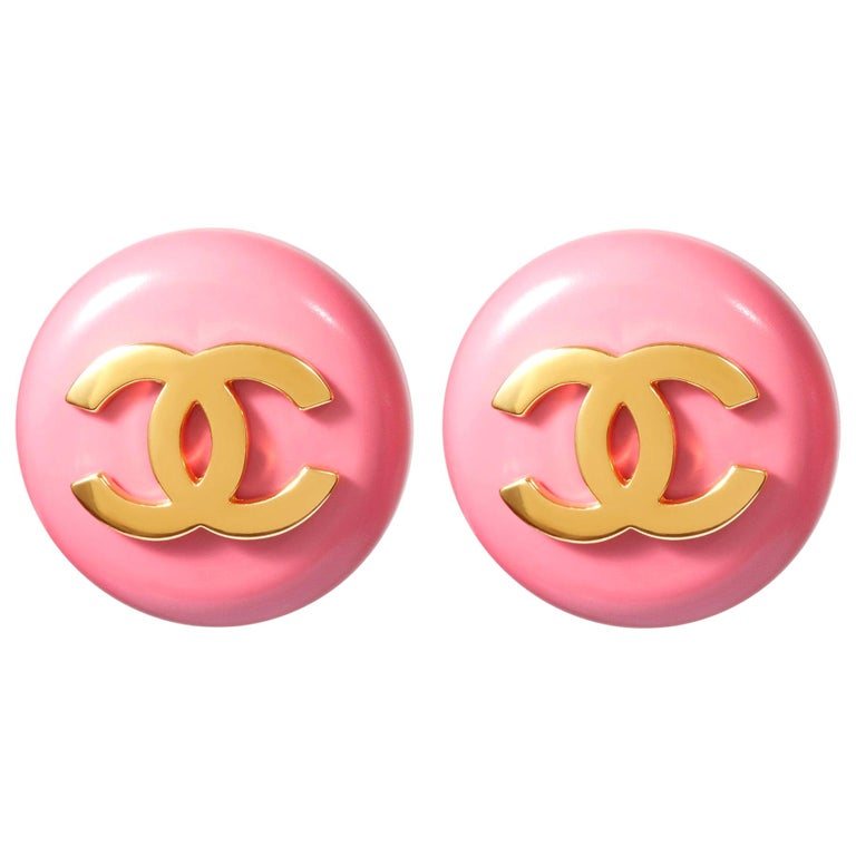 1980s Chanel Pink Lucite Gold Logo Earrings For Sale