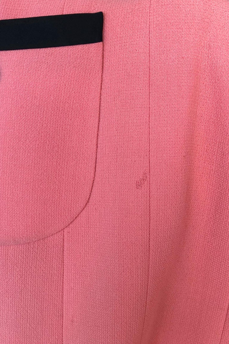 1980s Chanel Pink, Black Trim Peter Pan Collar & Tulip Hem Jacket, or Mini-Dress For Sale 6