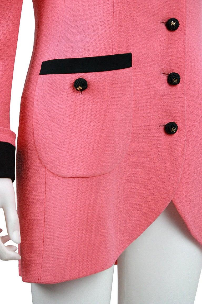 Women's 1980s Chanel Pink, Black Trim Peter Pan Collar & Tulip Hem Jacket, or Mini-Dress For Sale