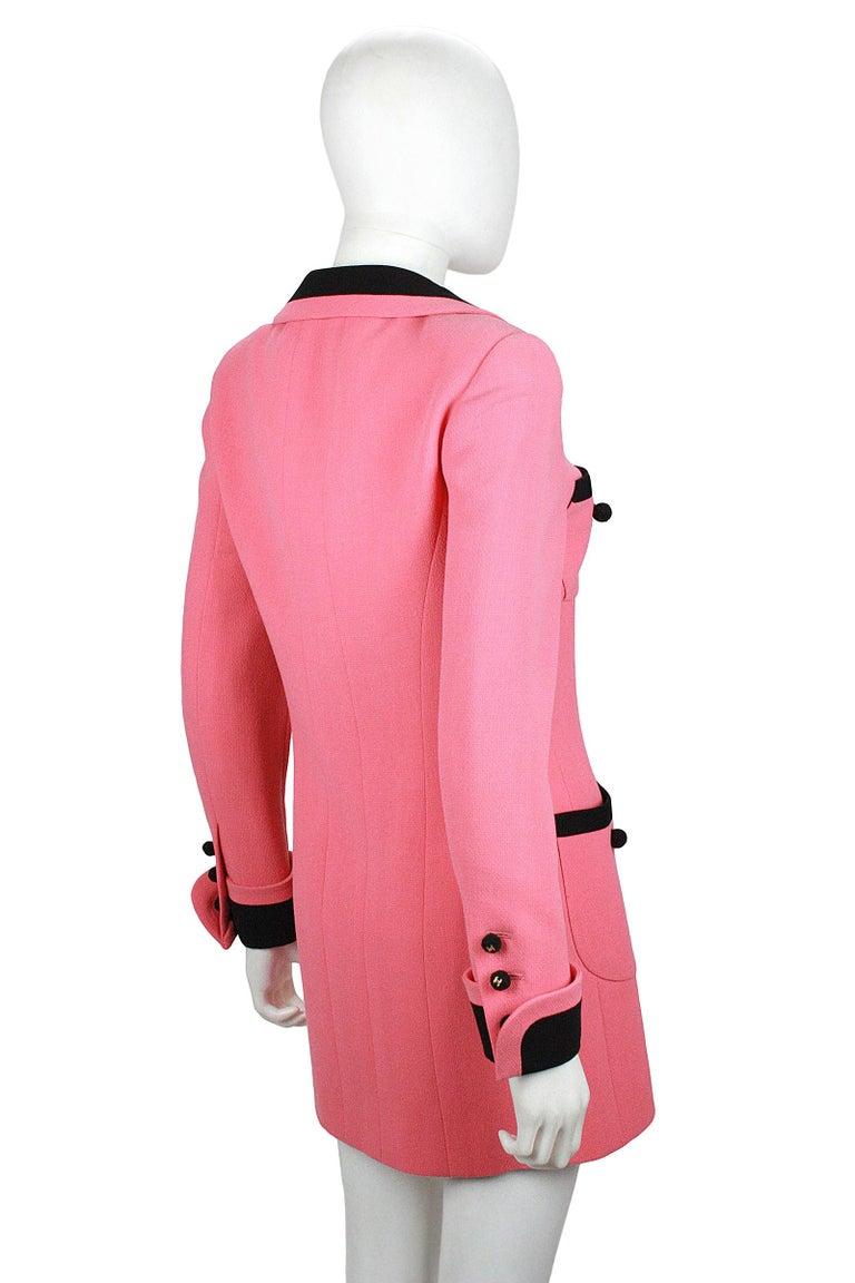 1980s Chanel Pink, Black Trim Peter Pan Collar & Tulip Hem Jacket, or Mini-Dress For Sale 1