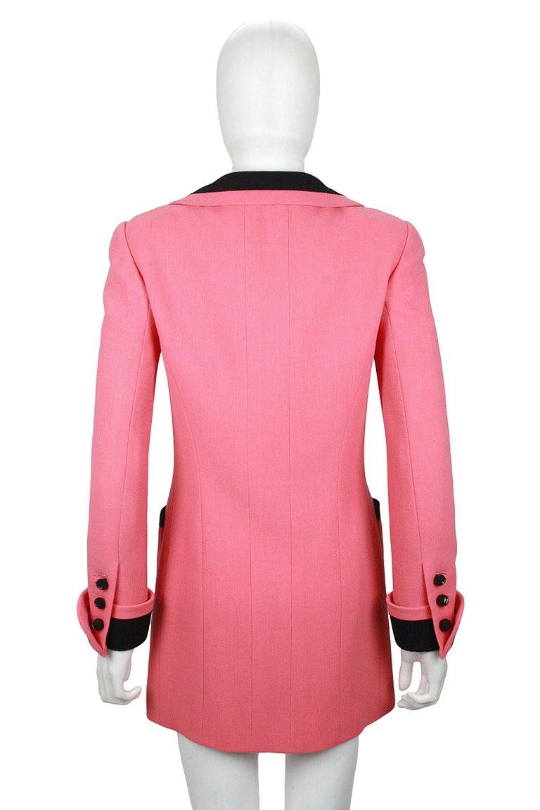 1980s Chanel Pink, Black Trim Peter Pan Collar & Tulip Hem Jacket, or Mini-Dress For Sale 2