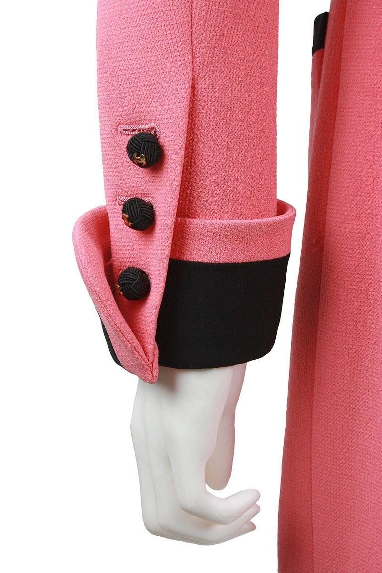 1980s Chanel Pink, Black Trim Peter Pan Collar & Tulip Hem Jacket, or Mini-Dress For Sale 3