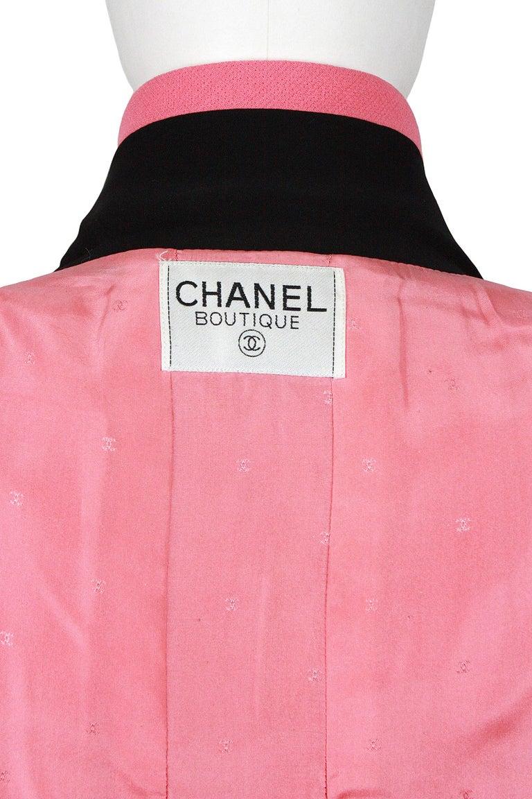 1980s Chanel Pink, Black Trim Peter Pan Collar & Tulip Hem Jacket, or Mini-Dress For Sale 4