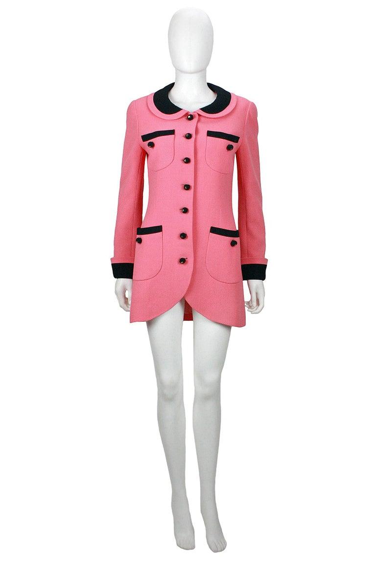 1980s Chanel Pink, Black Trim Peter Pan Collar & Tulip Hem Jacket, or Mini-Dress For Sale 5