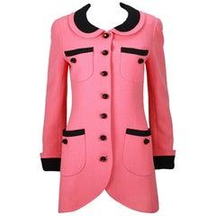1980s Chanel Pink, Black Trim Peter Pan Collar & Tulip Hem Jacket, or Mini-Dress