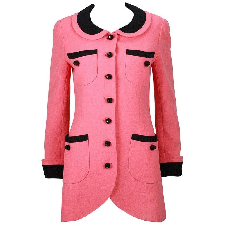 1980s Chanel Pink, Black Trim Peter Pan Collar & Tulip Hem Jacket, or Mini-Dress For Sale