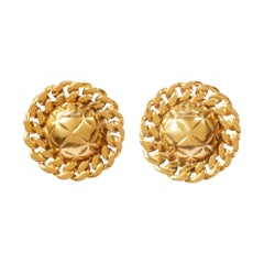 1980s Chanel Quilted Gold Tone Earrings With CC Signature