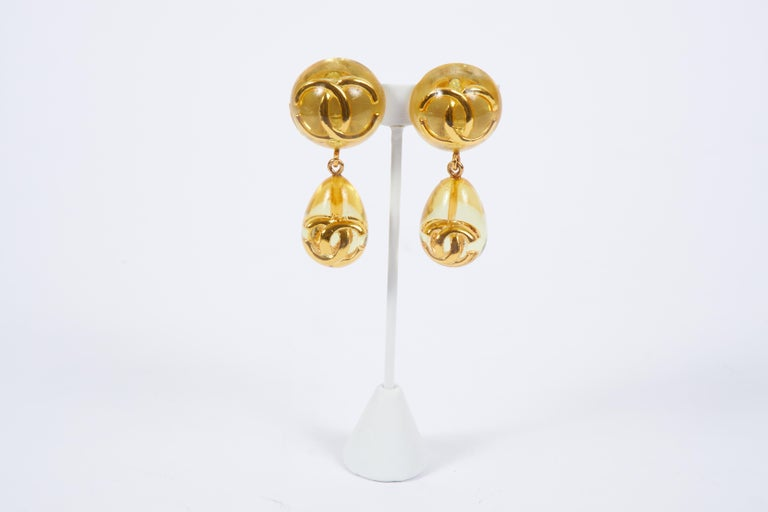 Women's 1980's Chanel Rare Lucite Inlay Dangle Earrings For Sale