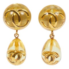 1980's Chanel Rare Lucite Inlay Dangle Earrings