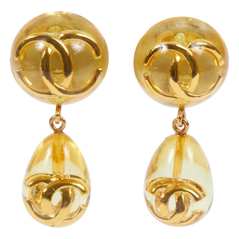 1980's Chanel Rare Lucite Inlay Dangle Earrings For Sale