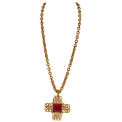 1980's Chanel Red Gripoix Gold Cross Necklace