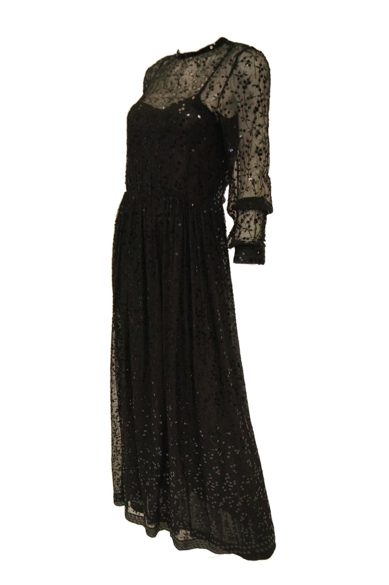 1980s Chanel Sheer Black Silk Evening Dress with Floral Embroidery and Sequins In Excellent Condition For Sale In Houston, TX
