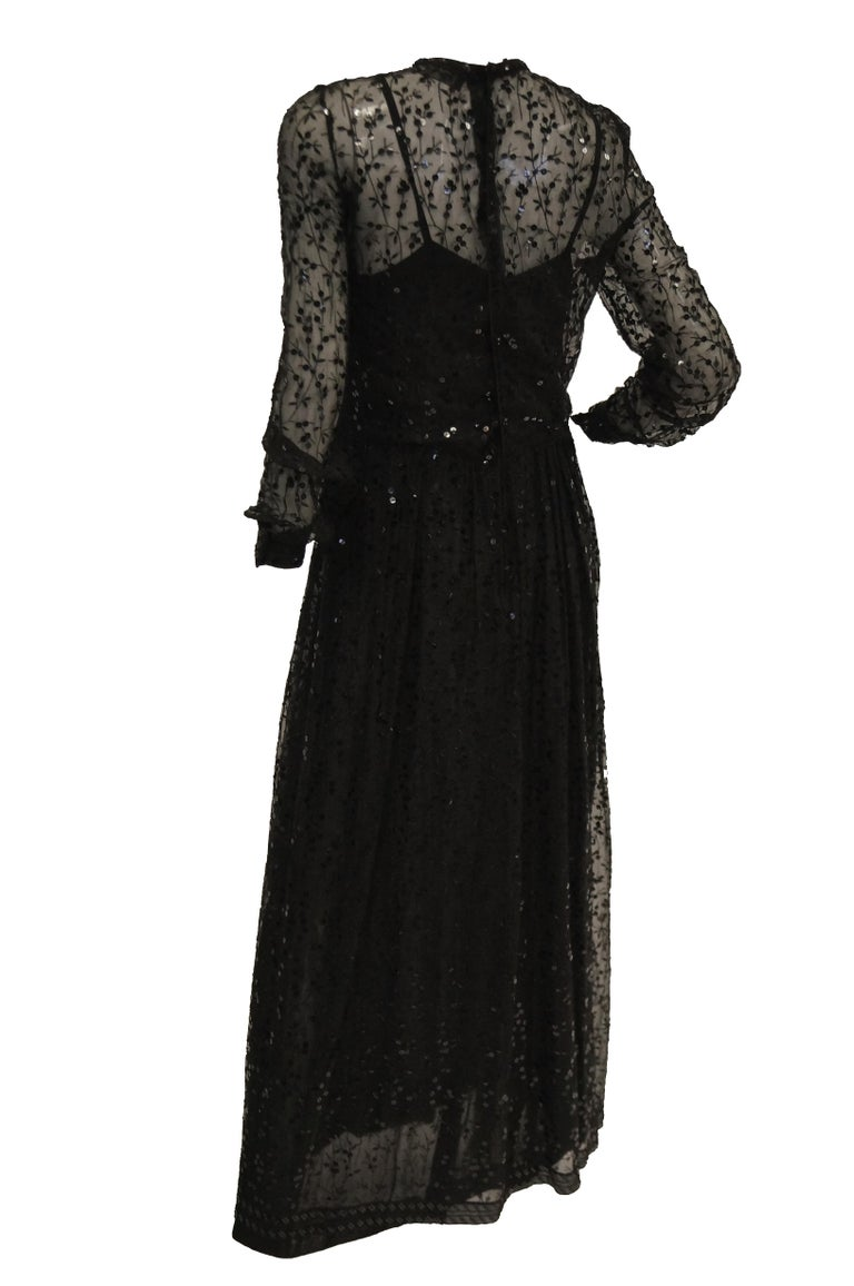 Women's 1980s Chanel Sheer Black Silk Evening Dress with Floral Embroidery and Sequins For Sale