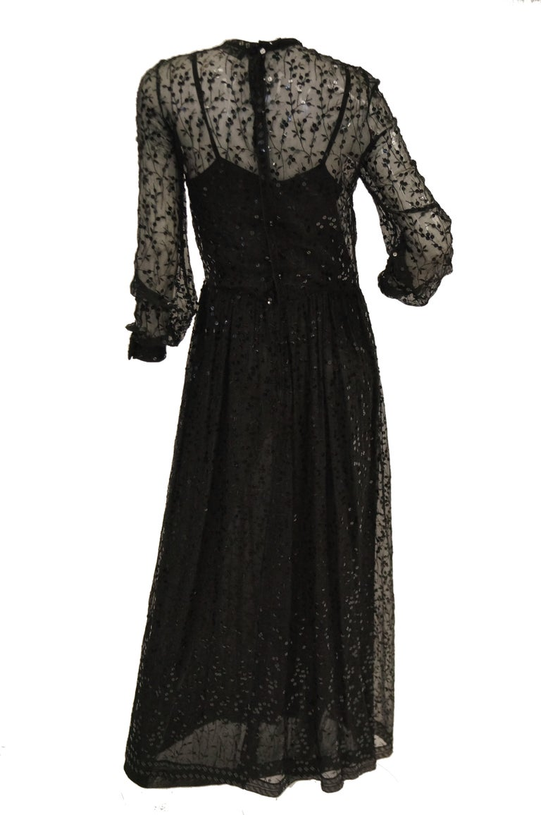 1980s Chanel Sheer Black Silk Evening Dress with Floral Embroidery and Sequins For Sale 1