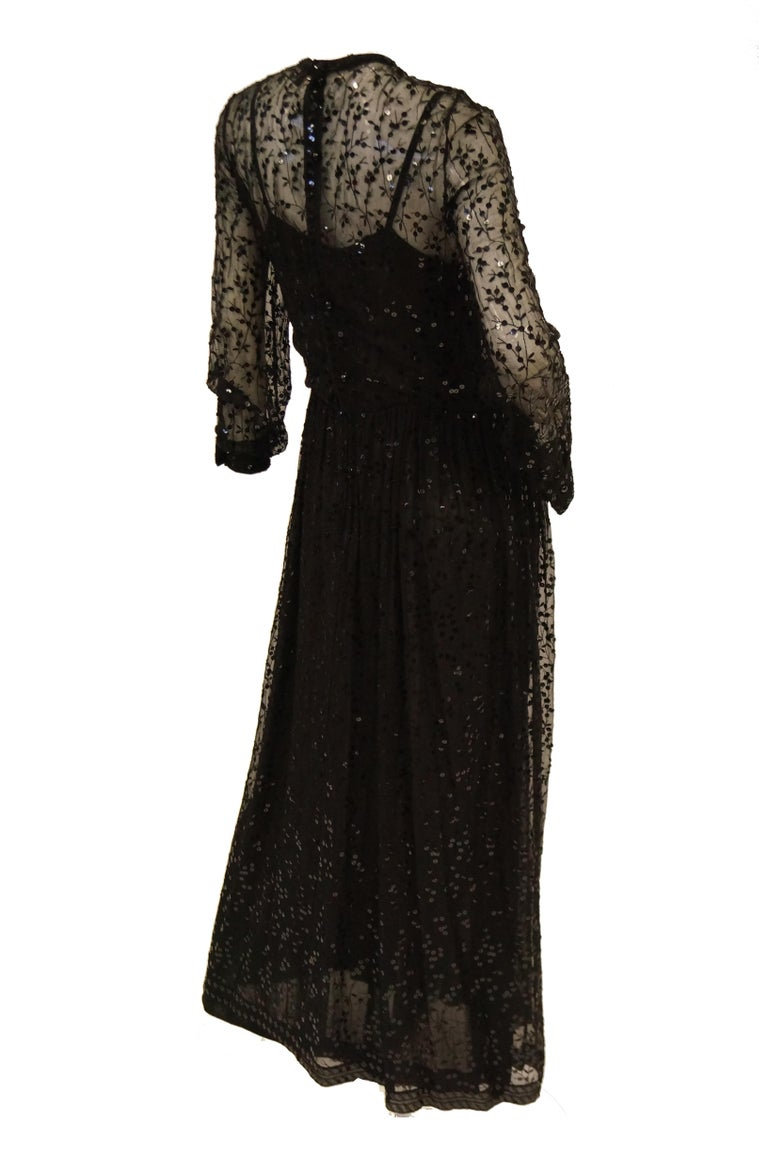1980s Chanel Sheer Black Silk Evening Dress with Floral Embroidery and Sequins For Sale 2