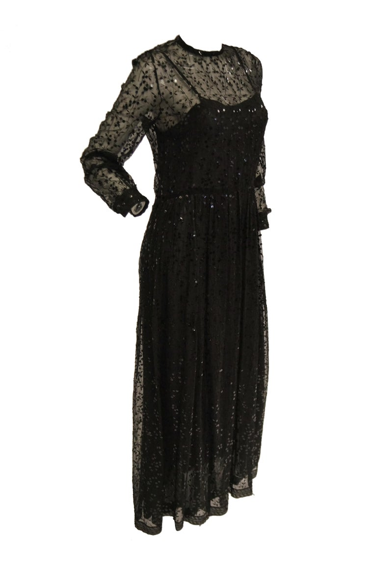 1980s Chanel Sheer Black Silk Evening Dress with Floral Embroidery and Sequins For Sale 3